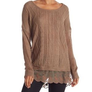 Simply Couture Cable Knit Scalloped Lace Hem Tunic